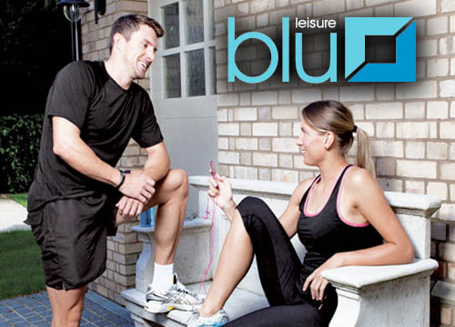 Blue leisure clothing and accessories available from leisure centre reception